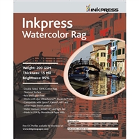 "Inkpress Watercolor Rag 200gsm 8.5"" x 11"" - 25 Sheets"