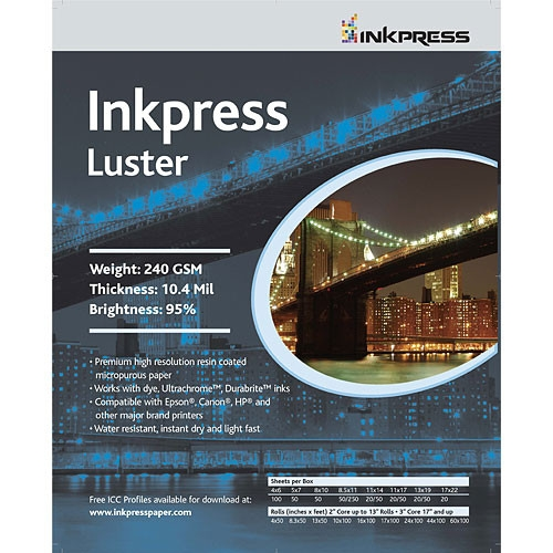 "INKPRESS Luster Paper 240gsm 4""x6"" 100 Sheets"