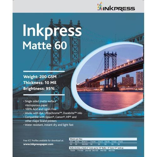 "Inkpress Matte 60 200gsm 4"" x 6"" - 100 Sheets"