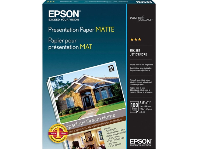 EPSON Presentation Paper Matte 4.9mil, 8.5  x 11in - 100 sheets