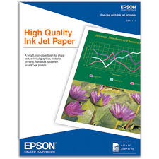 "EPSON High Quality Ink Jet Paper 8.5""x11"" - 100 Sheets"