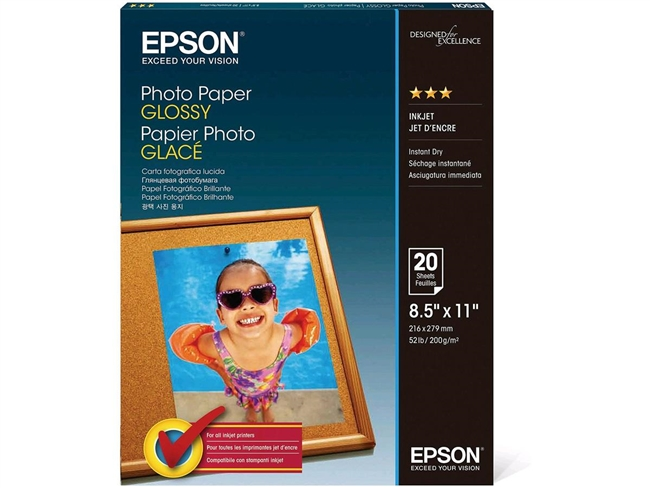 "Epson Photo Paper Glossy, 8.5"" x 11"" - 20 sheets"
