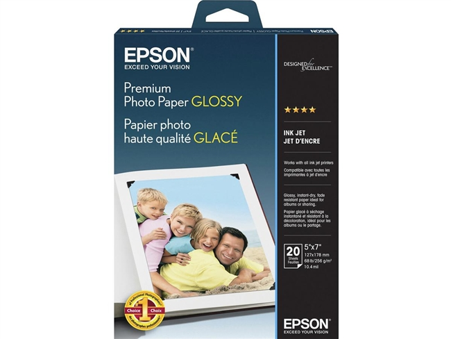 "Epson Premium Photo Paper Glossy, Borderless, 5"" x 7"" - 20 sheets"