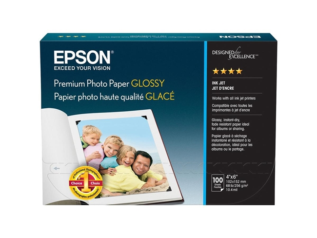 EPSON Premium Photo Paper Glossy 4x6 100 sheets