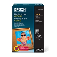 "Epson Photo Paper Glossy, Borderless, 4"" x 6"" - 50 sheets"