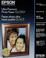 "Epson Ultra Premium Glossy Heavy Weight Inkjet Photo Paper 11.8 mil.  8.5""x11"" - 25 Sheets"