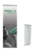 "Orbus Spring Back 1-2 Black Banner Stand 26.5""x59"" or 78"""
