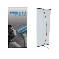 "Orbus Spring Back 1-3 Black Banner Stand 35.125""x59"" or 78"""