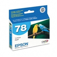 Epson 78 Claria Hi Definition Ink Cyan for Stylus Photo R260, R280, R380, RX580, RX595, RX680 and Artisan 50  - T078220