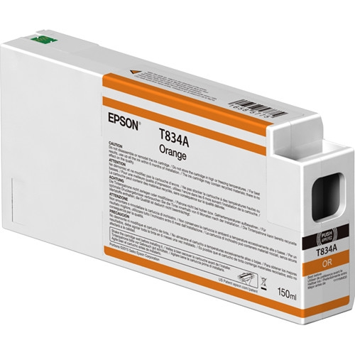 Epson 834 UltraChrome HDX 150mL Orange Ink Cartridge for SureColor P7000, P9000 - T834A00