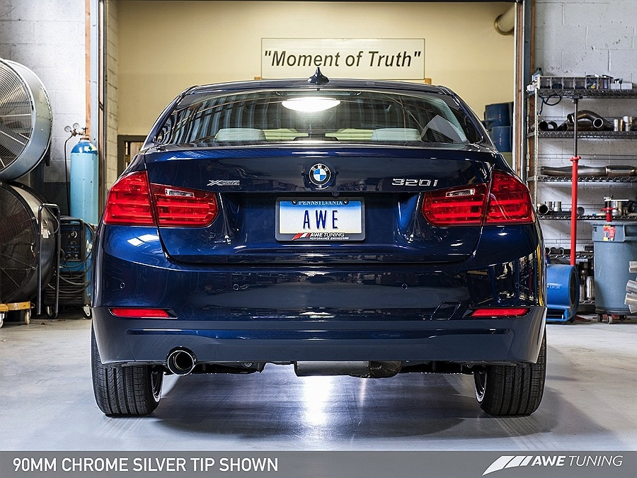 AWE Tuning BMW F30 320i Touring Edition Exhaust + Performance Mid Pipe,  Single Side -- Chrome Silver Tip (90mm)