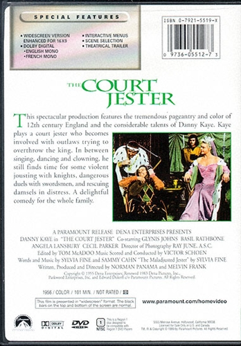 The Court Jester DVD 1955 Danny Kaye Angela Lansbury