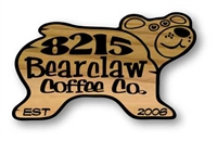 CUSTOM CARVED CEDAR WOOD SIGN - BLACK BEAR WITH A SMILE