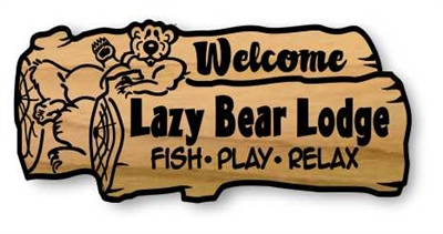 LAUGHING BEAR CUSTOM ENGRAVED WOOD WELCOME SIGN