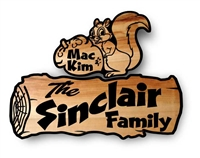 CUSTOM WOODEN SIGNS - COUPLE OF NUTS IS OUR LOG CEDAR SIGN AND SILLY SQUIRREL