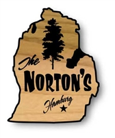 Rustic, Carved Wood Signs in the Shape of US States. Most States are compatible with text and images - some are not.