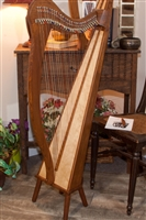 Roosebeck Minstrel Harp, 29 Strings, 5 Panel/Pedestal, Sheesham, Chelby Levers