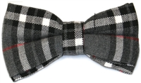 Men's Grey Plaid Bow Tie