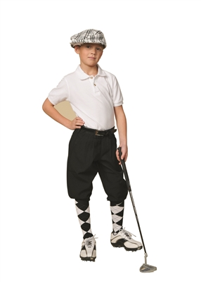 Children's Black Knickers, with Cap, And Black and White argyle Socks.