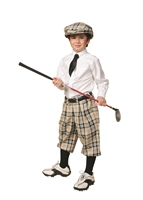 Children's Golf Outfit - Khaki Plaid Knickers, Matching Cap, Socks, White Dress Shirt and Black Seven Fold Tie.