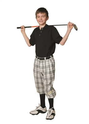 Children's Golf Outfit - White Check Knickers, Black socks, Black Polo