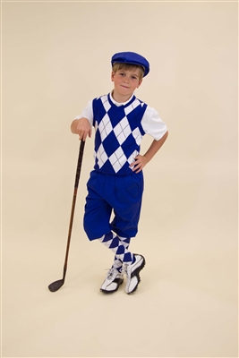 Children's Golf Outfit - Royal White Black Overstitch