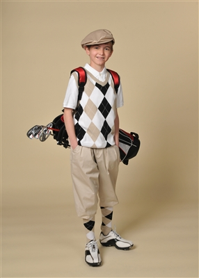 Children's Golf Outfit - Khaki White Black WhiteOverstitch