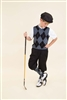 Children's Golf Outfit - Black Grey Light Grey Overstitch