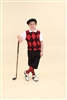 Children's Golf Outfit - Black Red White Overstitch