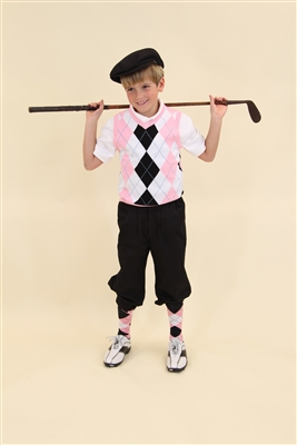 Children's Golf Outfit - White Black Pink Light Blue Overstitch