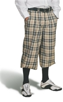 Khaki Plaid Golf Knickers for Men