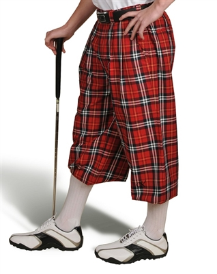 Red Plaid Golf Knickers for Men