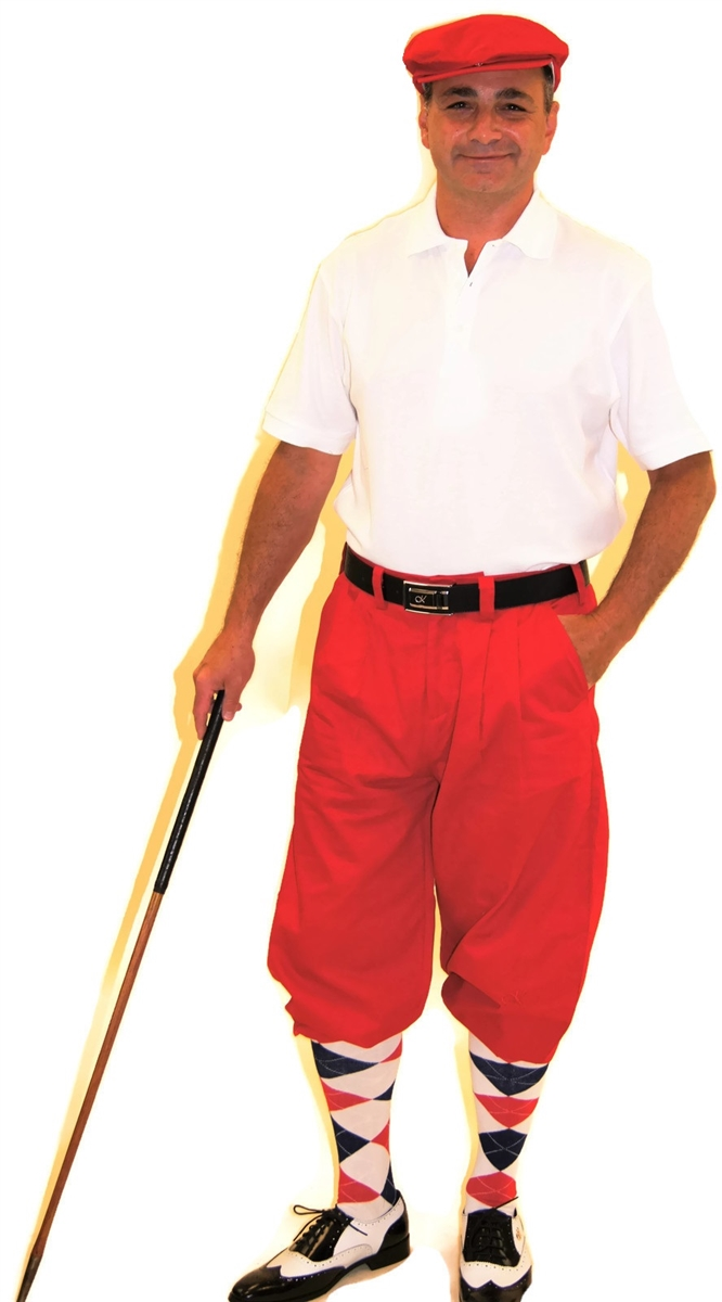 40cfeed14 Red White Blue Golf Outfit- Red Knickers Polo Socks Cap