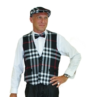Men's Black Plaid Golf Vest