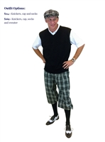 Men's Golf Outfit - Black Check Royal Troon Knickers w/Optional Black Sweater