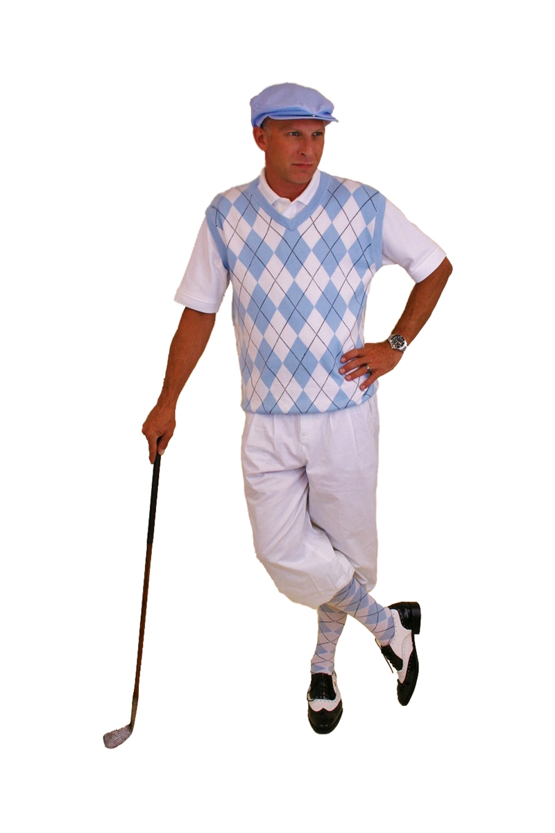 Men's Golf Outfit - White Knickers, Blue Sweater, Socks, Cap