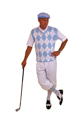 Men's Golf Outfit - Carolina Blue Sweater and Socks and Cap. Matched with white Golf knickers.
