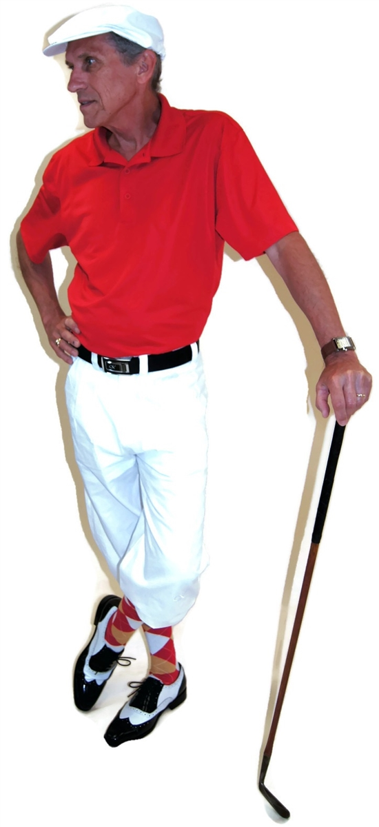 ead9b4c38 White and Red Golf Knickers Outfit with Red Gold White Socks