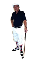 White Golf Knickers with Navy Polo Red White Blue Argyle Socks and White Cap