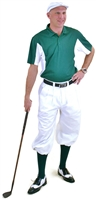 Men's Golf Outfit - White Knickers, Cap & Team Polo & Green Socks