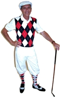 Our Red White and Blue Complete Golf Knickers Outfit features White Knickers, White Cap, Red White and Blue Argyle Sweater Vest and matching Argyle Socks.