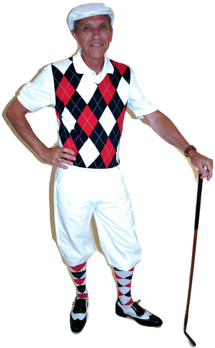 Red White and Blue Complete Golf Knickers Outfit features White ...