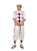 Men's Golf Outfit - White/Black/Pink/Light Blue Overstitch