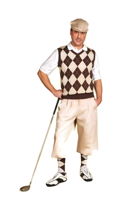 Men's Golf Outfit - Khaki/Brown/White Overstitch