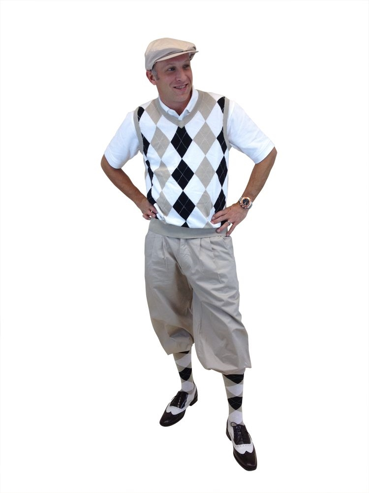 Menu0026#39;s Golf Knickers Outfit - KhakiWhiteBlackWhite
