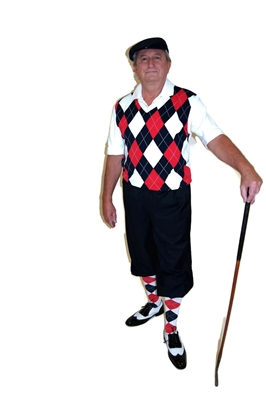 Red White Blue Golf Knickers Outfit - This Complete outfit features Navy Stewart Knickers, matching Cap, Red White and Blue Argyle Sweater Vest and matching Argyle Socks.