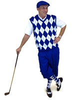 Royal and White Complete Golf Outfit - Royal Golf Knickers with Matching Cap, Royal and White Argyle Sweater Vest with Matching Socks.