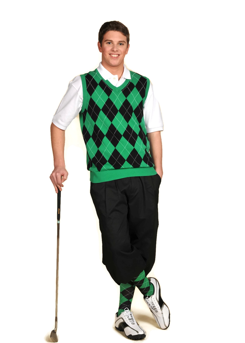 Menu0026#39;s Complete Golf Knickers Outfit - Black Green White