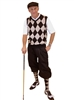 Men's Golf Knickers Outfit - Black/Khaki/Red Overstitch w/Black Knickers