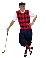 Men's Golf Outfit - Black/Red/White Overstitch